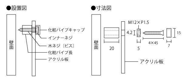 商品の設置図と寸法図